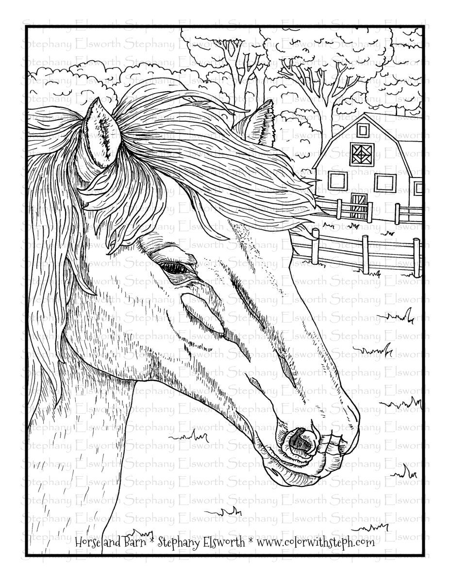 Horse And Barn Free Printable Pdf Coloring Page Color With Steph Coloring Books And Coloring Pages Horse Coloring Pages Coloring Pages Free Printable Coloring Pages