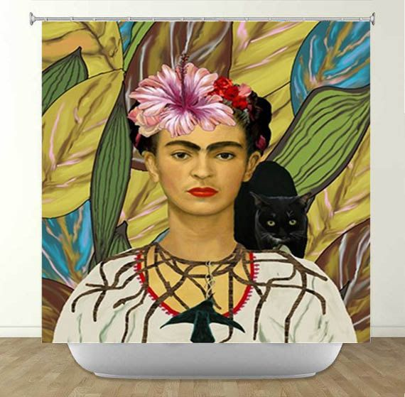 Frida Kahlo And Black Cat Shower Curtain Cat Shower Curtain