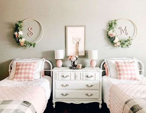American Farmhouse Style On Instagram Let S Play Would You Rather Bunk Beds Or Twin Beds For A Doub In 2020 Shared Girls Bedroom Shared Girls Room Twin Girls Room