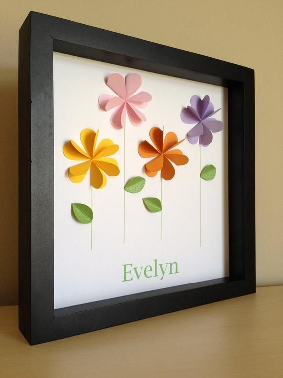 Flowers Personalized Paper Art- Paper Flowers, Nursery Art, Nursery Decor, Little girl room, made to