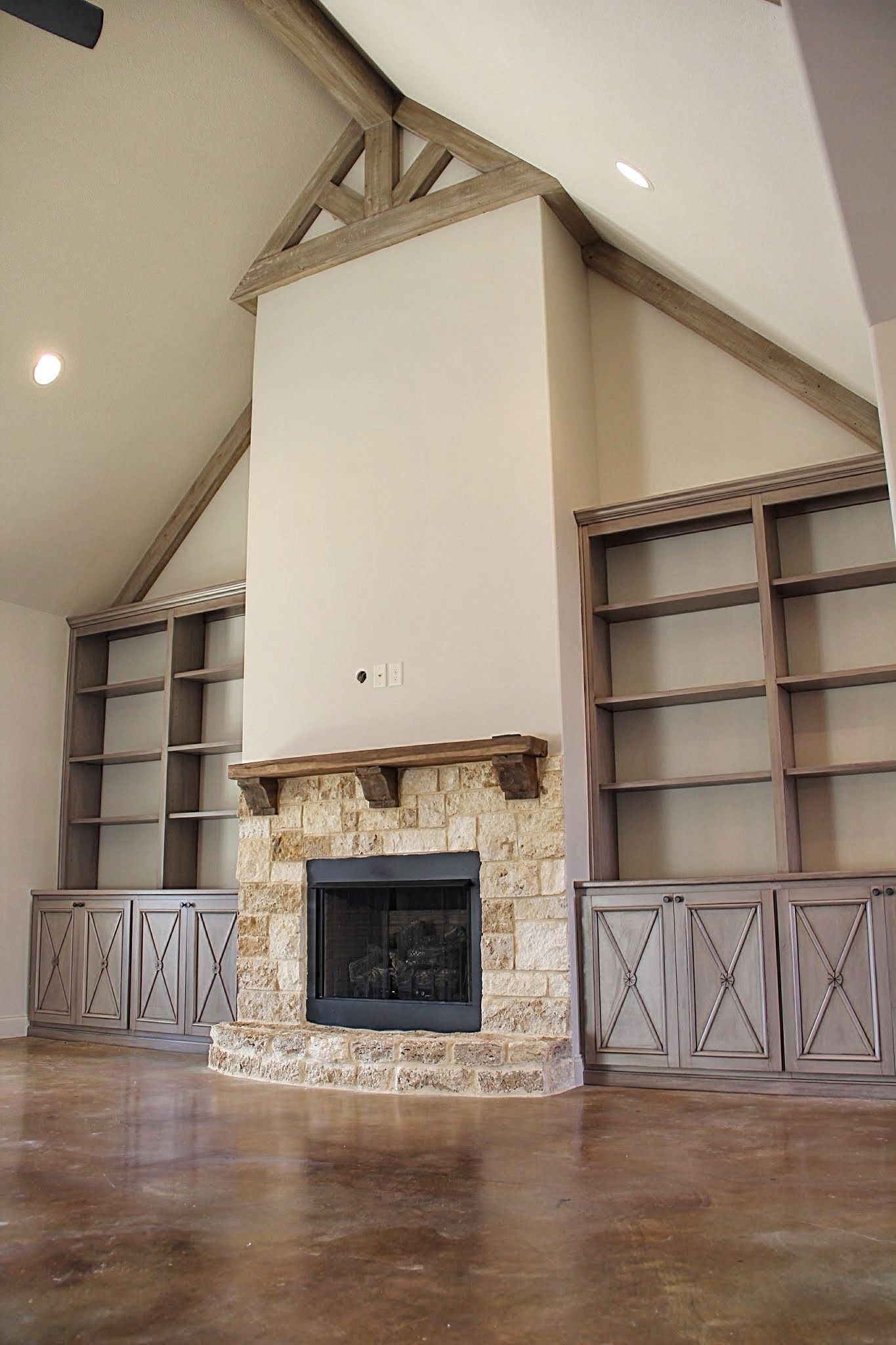 Built Ins Around Fireplace Vaulted Ceiling