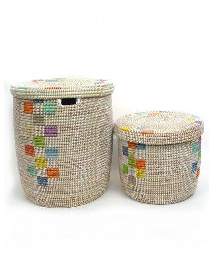 Senegal White Woven Hamper With Color Basket Basket Weaving