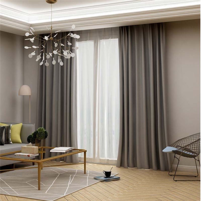 Modern Grey Blackout Curtain Solid Color Silk Imitation Curtain Living Room Bedr Living Room Decor Curtains Curtains Living Room Curtains Living Room Modern