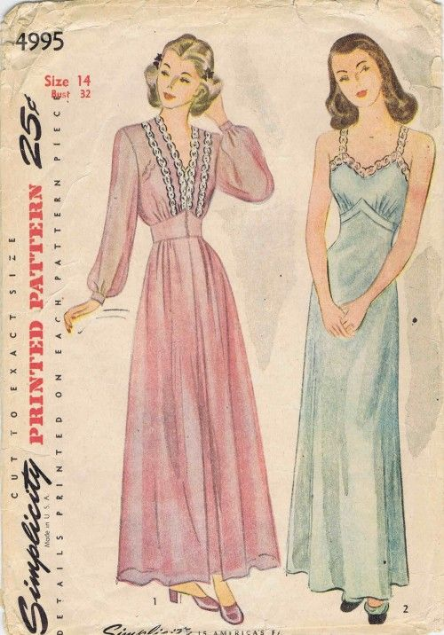 1940s Nightgown and Negligee Simplicity 4995 Vintage Sewing Pattern ...