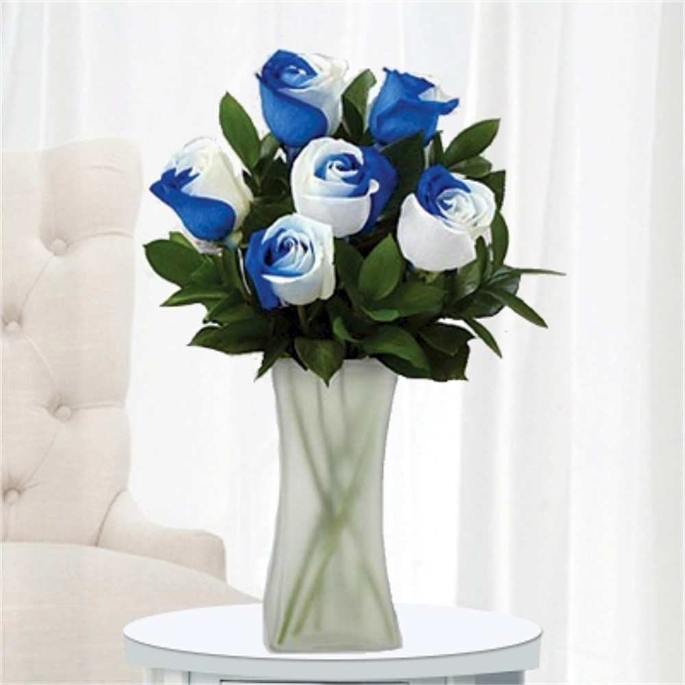 Blue and White Roses, 6 Stems with Vase Rainbow roses