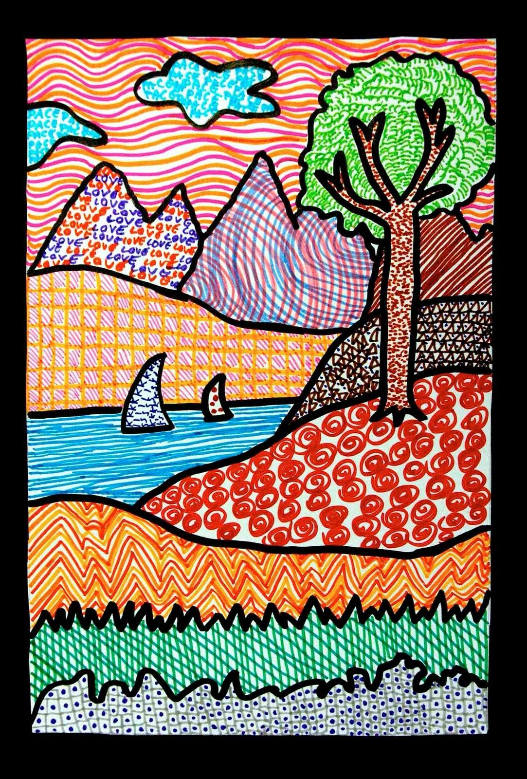 Elementary Art Line Design : Landscapes of texture look closely and you ll see the