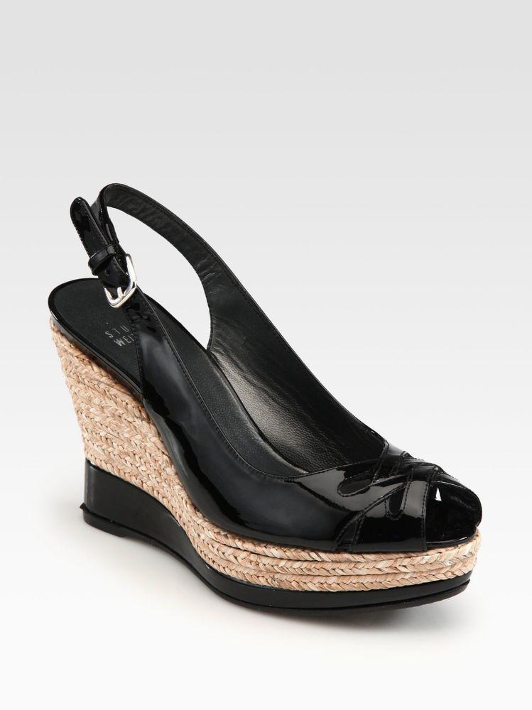 1fe0c551f68 Stuart Weitzman Dolunch Patent Espadrille Wedge Sandal Straw Black ...