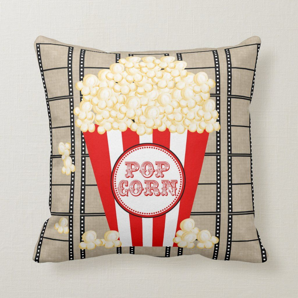 Movie Theater Popcorn and Film Pillow-red Throw Pillow | Zazzle.com