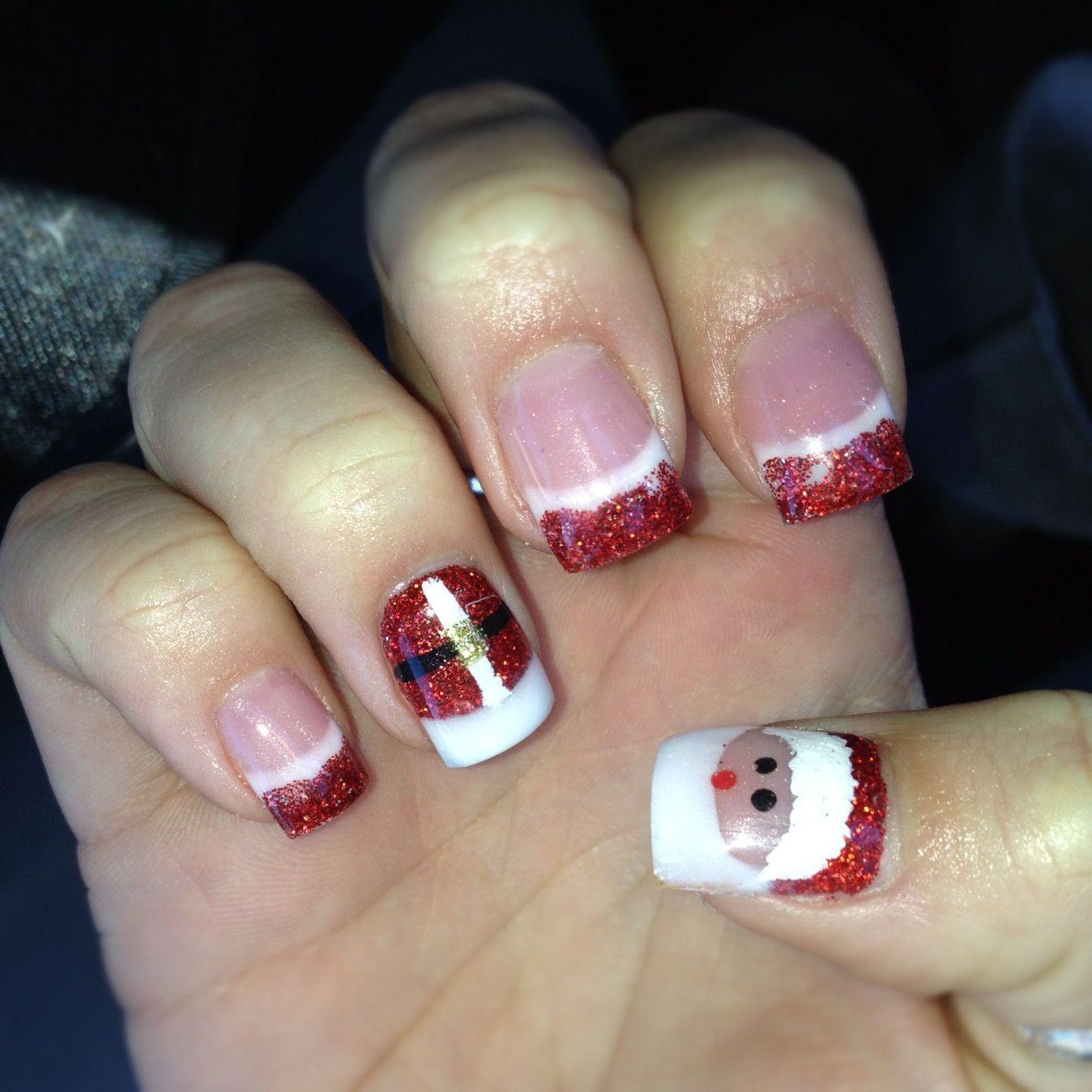 Holiday Acrylic Nails Designs: Christmas Santa Acrylic Nail Design