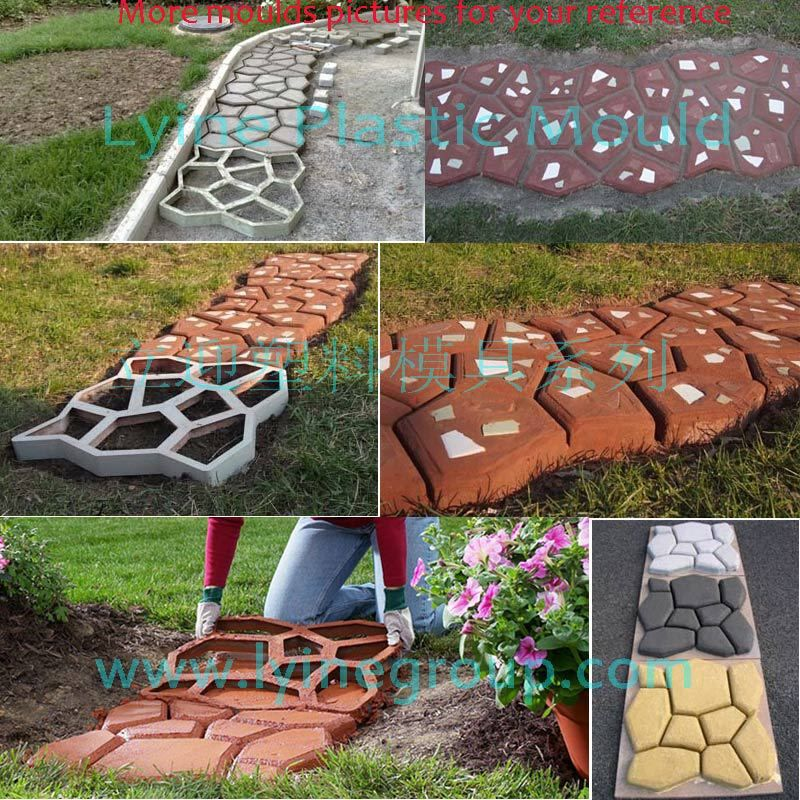 Lyine Diy Plastic Concrete Stepping Stone Patio Random