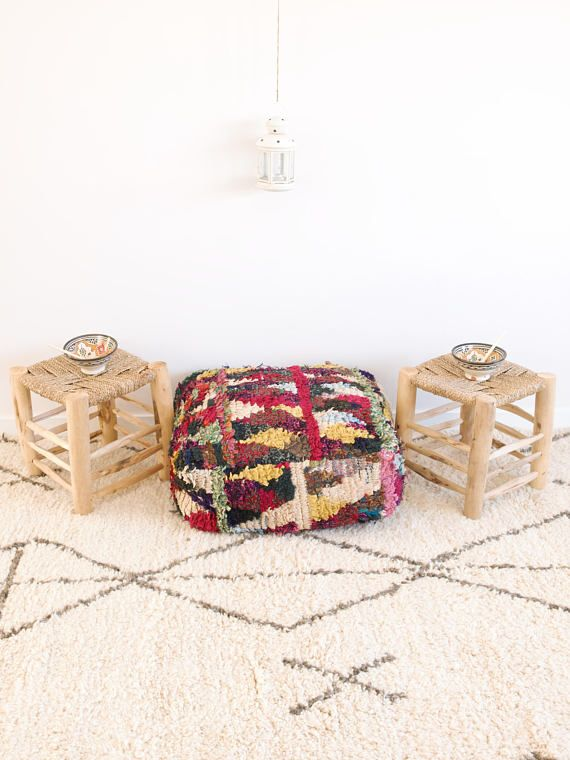 Boucherouite Pouf cover Moroccan floor pillow Kids floor | Kenza ...