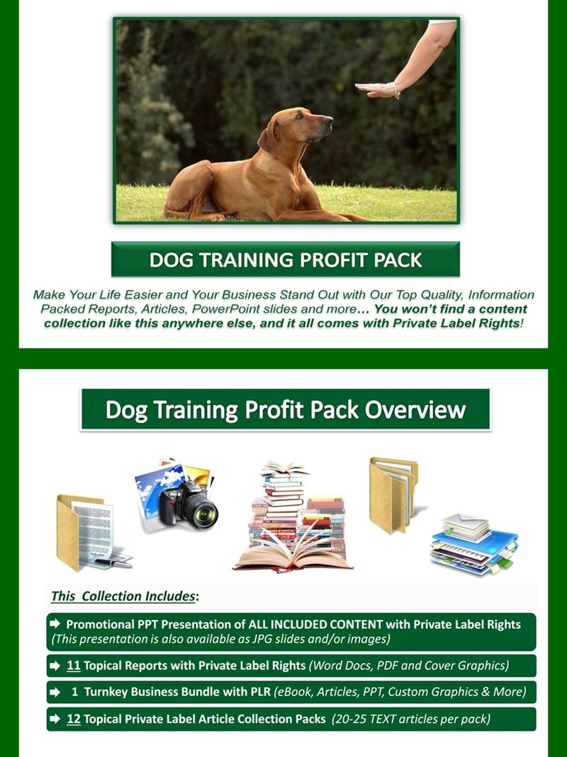 Dog Training Plr Profit Pack Quality Value Packed And Affordable