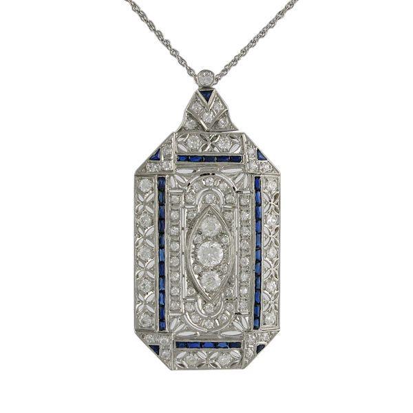 Edwardian Platinum Diamond and Sapphire Brooch / Pendant on Platinum Chain