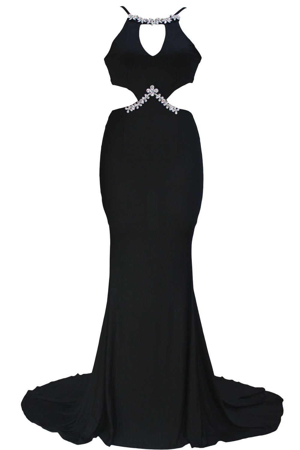 Diamond embellished sexy cutout black mermaid dress products