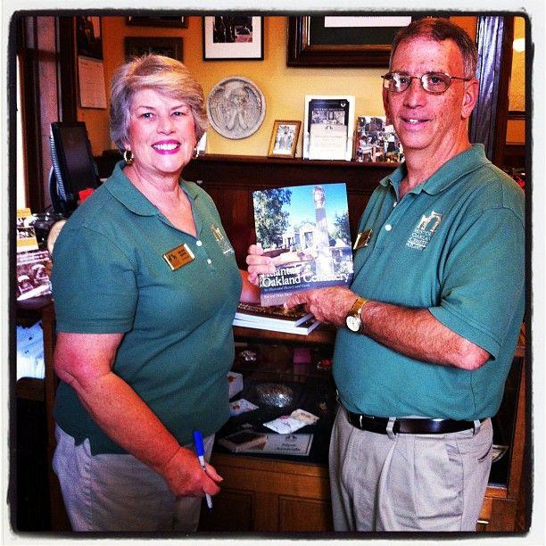 "Authors Helen and Ren Davis signing copies of their book ""Atlanta's Oakland Cemetery"" @Oaklandcemetery gift shop!"
