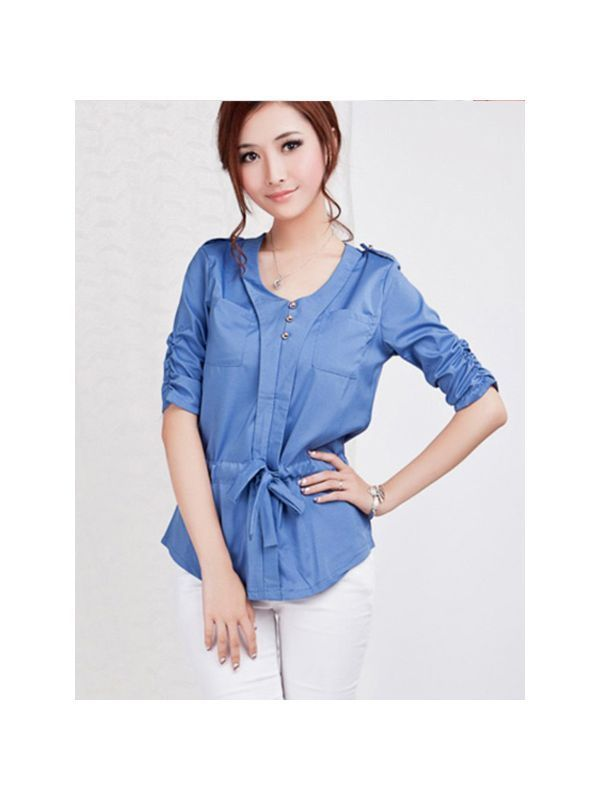 Women 8217 S Clerical Blouses Uk Elegant Half Puff Sleeve Slim Waist Pockets V