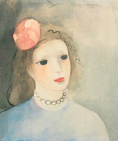 Marie Laurencin 1885 1956 Tp Buste De Jeune Fille Aquarelle