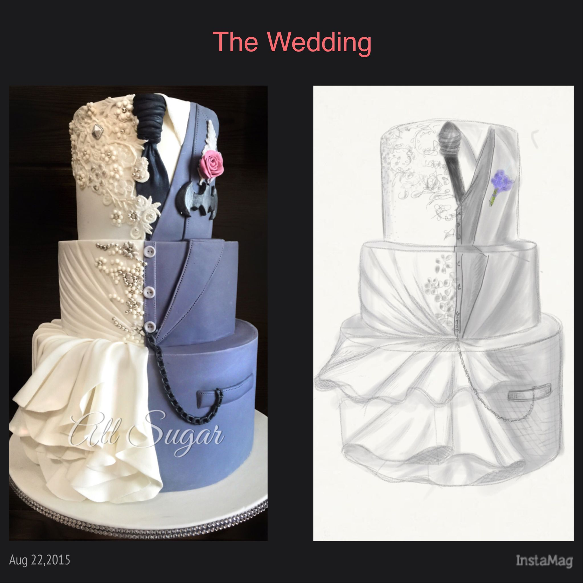 Custom wedding cake Wedding dress inspired wedding cake Dual design ...