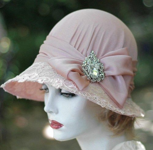 20s Cloche Hat for Mother of the Bride Weddings Blush Pink