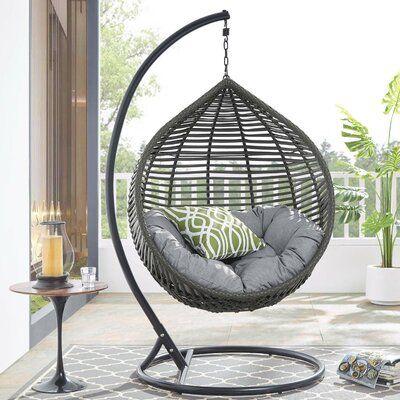 Bungalow Rose Chenery Teardrop Outdoor Patio Swing Chair In Grey White Wayfair Ca Patio Swing Chair Outdoor Patio Swing Swing Chair Outdoor