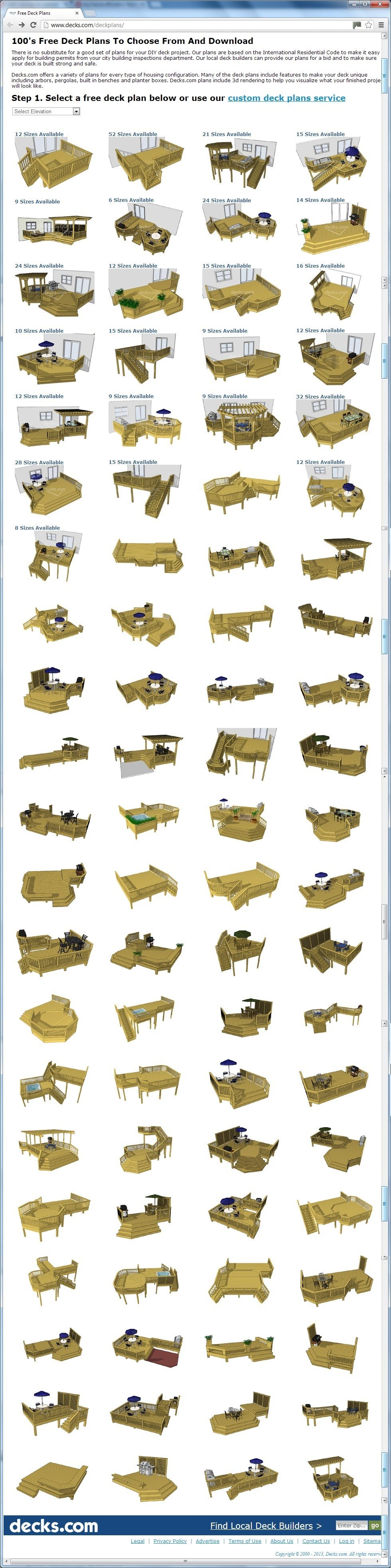 100's Of Free Deck Plans You Can Choose From And Download At