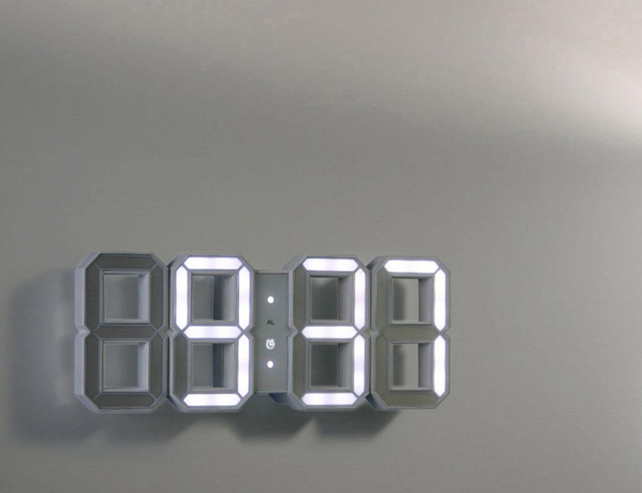 White & White Clock 3D Digital LED Black Edition Clock