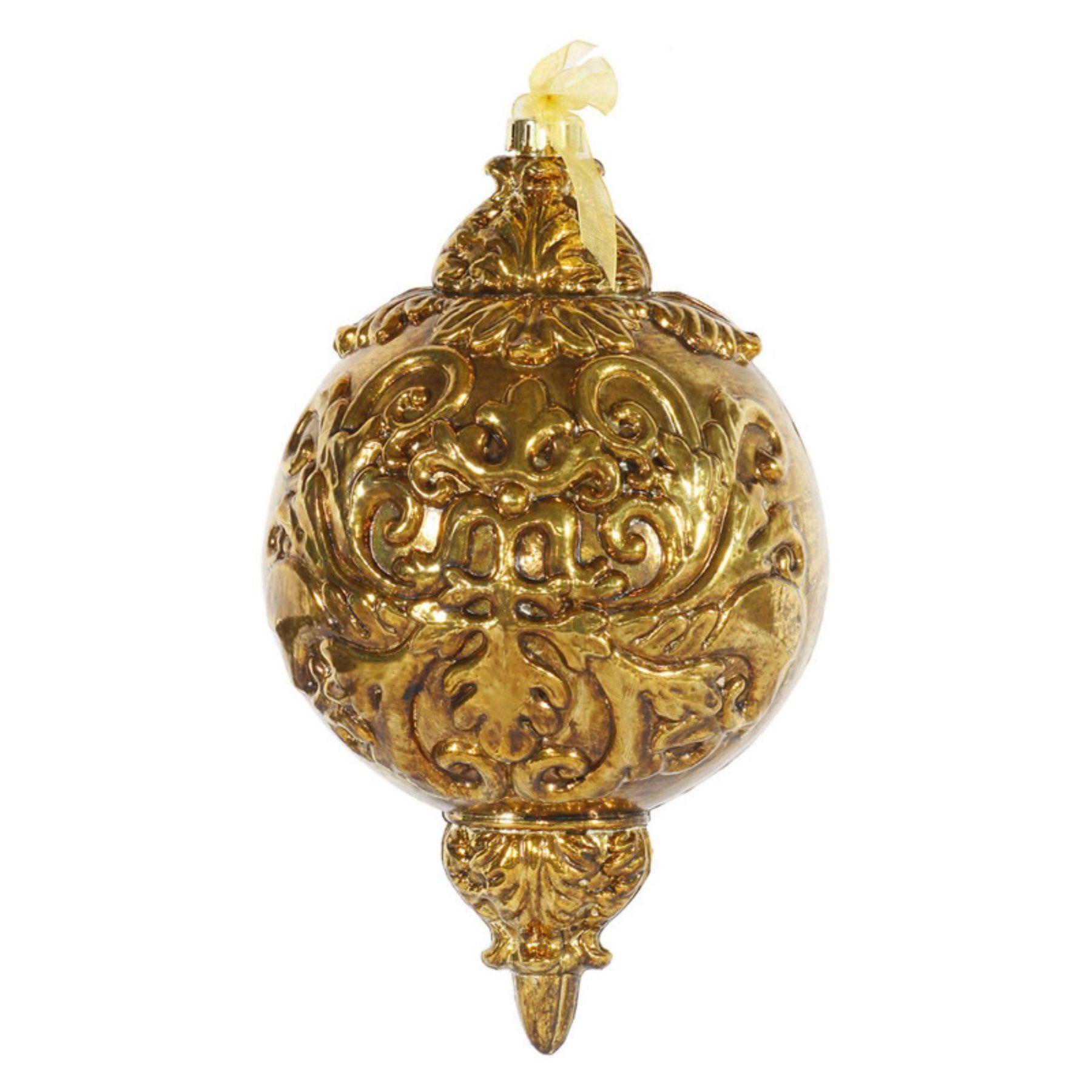 Vickerman 12 Antique Gold Ball Finial Ornament 1 per Box O128019