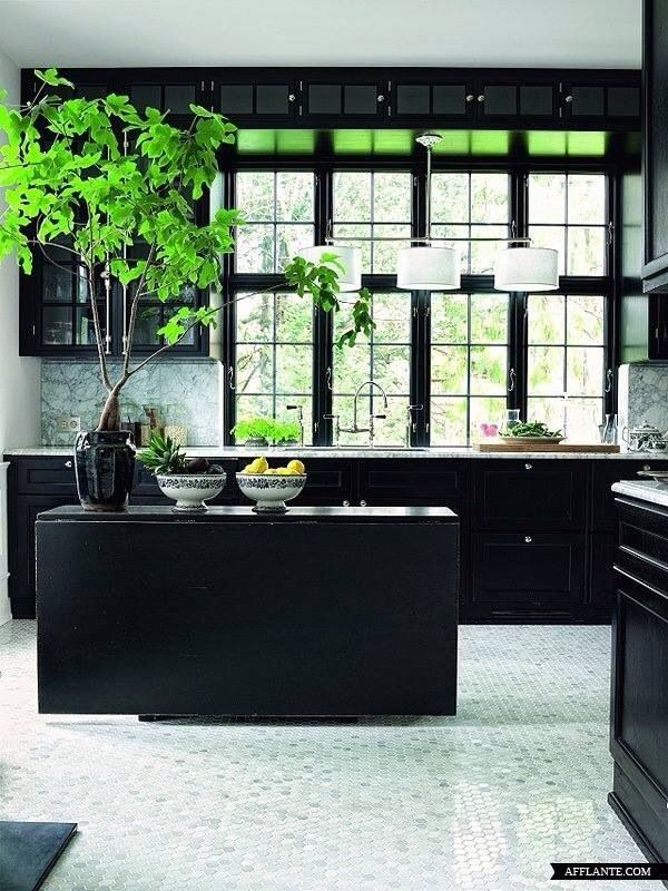 Black cabinets with light floor!