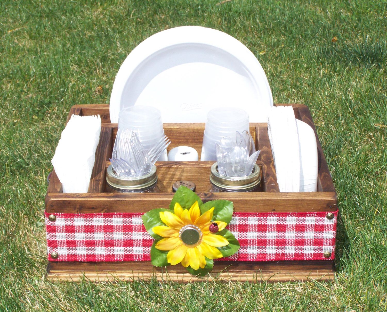 Ladybug sunflower picnic tableware utensil caddy organizer for ...