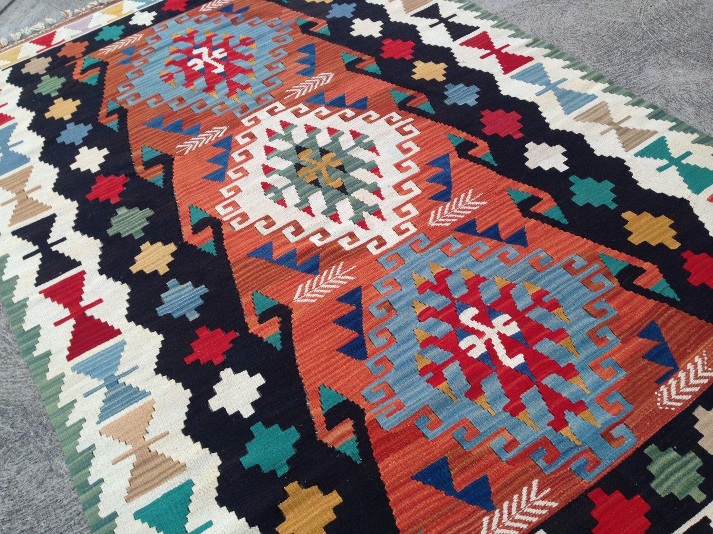 Vintage Woven Kilim Rug Large Turkish Wool Kilimrug Colorful Naturaldyes 4 8
