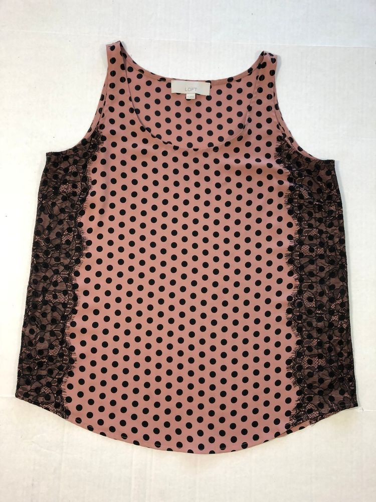 941eb4036ab2 Ann Taylor Loft Women's Sleeveless Pink Polka Dot Black Lace Blouse Top M  1000 #AnnTaylorLOFT #Blouse #All