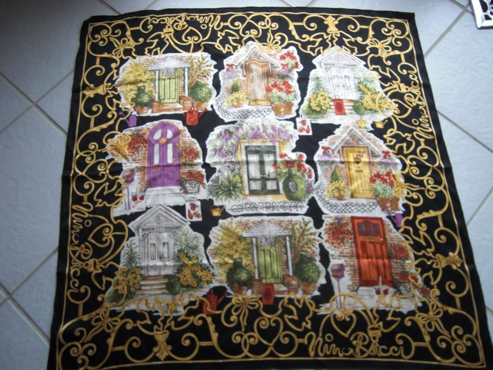 Genuine Nina Ricci silk scarf Doors,35x35, FRAME IT, Made in ITALY