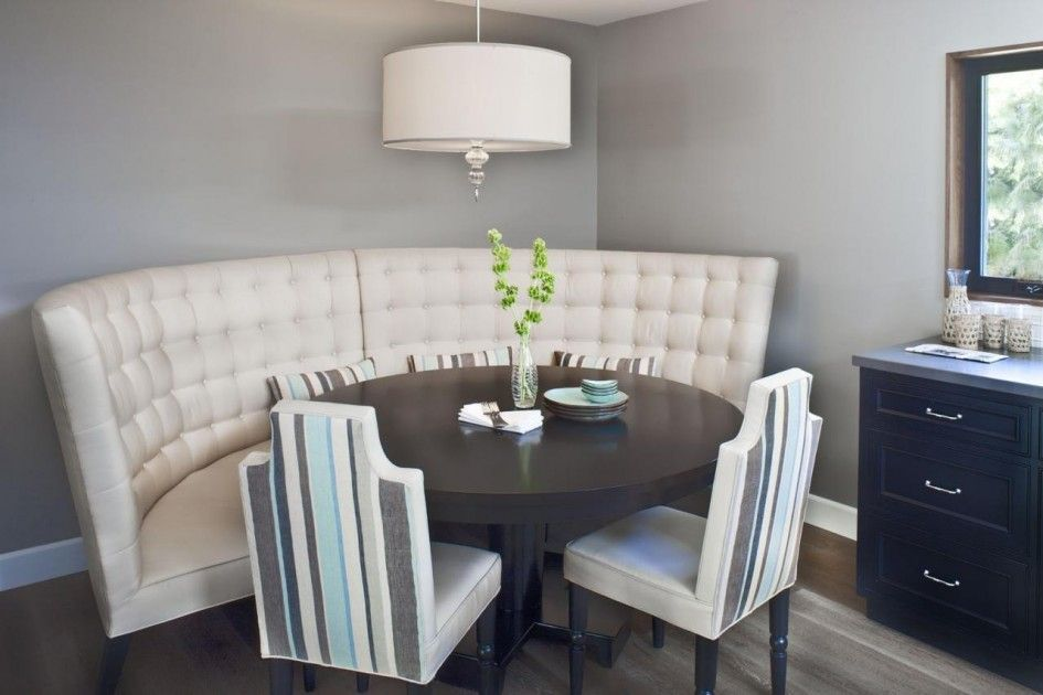 Tables Chairs Contemporary Banquette Dining Set Rounded With Tufted Inside Seat Back Hard Wood Frame 4pc Breakfast Nook 2 Upholstered