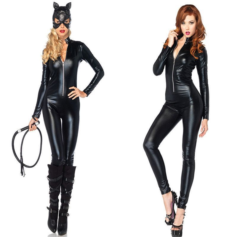 11d34cf6ad2 Halloween Costumes Adult Women Deluxe Leather Rider Motorcycle Jacket Cat  Lady Catwoman Costume Catsuit Jumpsuit