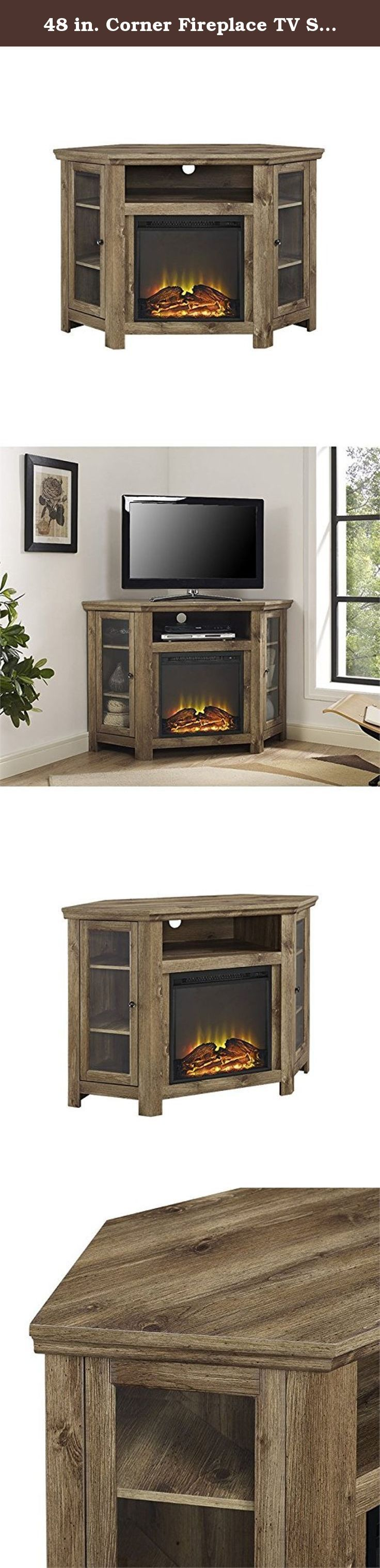 48 in corner fireplace tv stand in barn wood finish includes