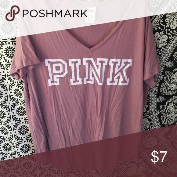 Victoria's Secret pink t shirt Super soft pink t shirt v neck PINK Victoria's Secret Tops Tees - Short Sleeve
