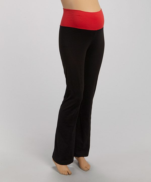 87a9a9c1c13 Black   Red Wide-Waistband Maternity Yoga Pants - Women by Mom   Co.   zulily  zulilyfinds
