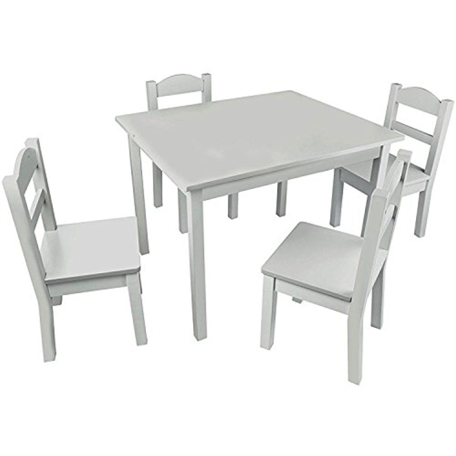 Tremendous Pidoko Kids Wooden Table And Chairs Set Grey Includes 4 Lamtechconsult Wood Chair Design Ideas Lamtechconsultcom