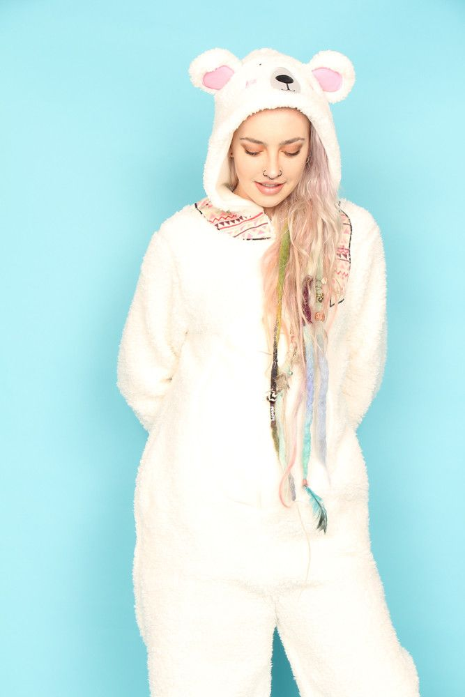 7311dc547 Pretty Polar Bear Scarf Onesie