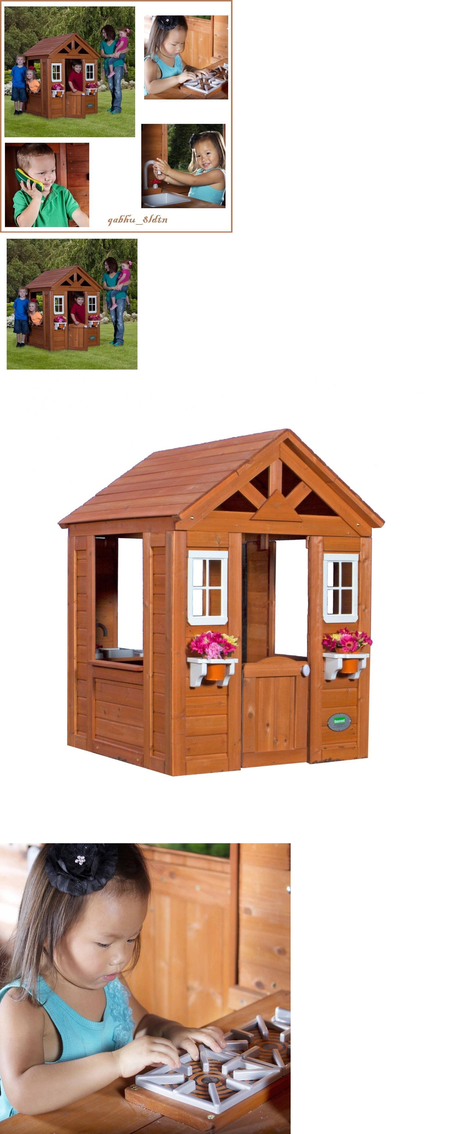 Permanent Playhouses 145995 Kids Outdoor Playhouse Childrens Wood