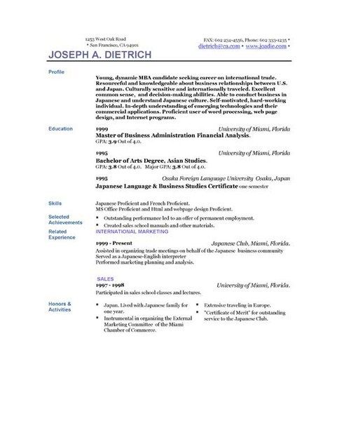 Absolutely Free Downloadable Resume Templates Simple Resume - business administration resume