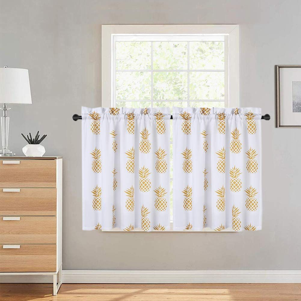 Haperlare Pineapple Printed Tier Curtains For Kitchen Tropical Fruit Pattern Short Window Curtain Cafe Curtains Rod P In 2020 Kitchen Curtains Cafe Curtains Curtains