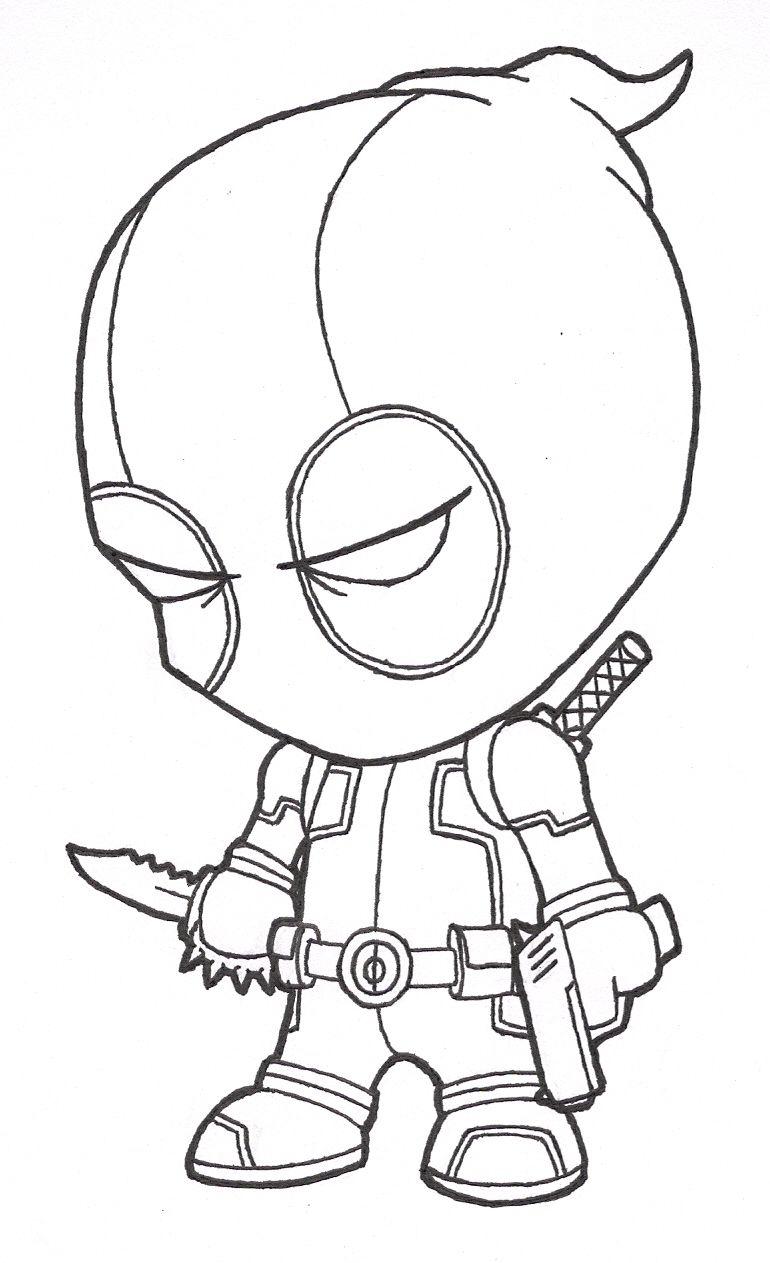 Little Deadpool Lines By Josh308 On Deviantart In 2020 Cool Cartoon Drawings Easy Cartoon Drawings Deadpool Drawing