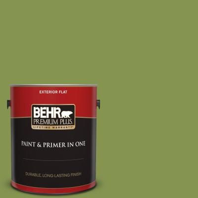 Behr Premium Plus 1 Gal M360 6 Bold Avocado Flat Exterior Paint And Primer In One In 2020 Exterior Paint Behr Premium Plus Ultra Interior Paint