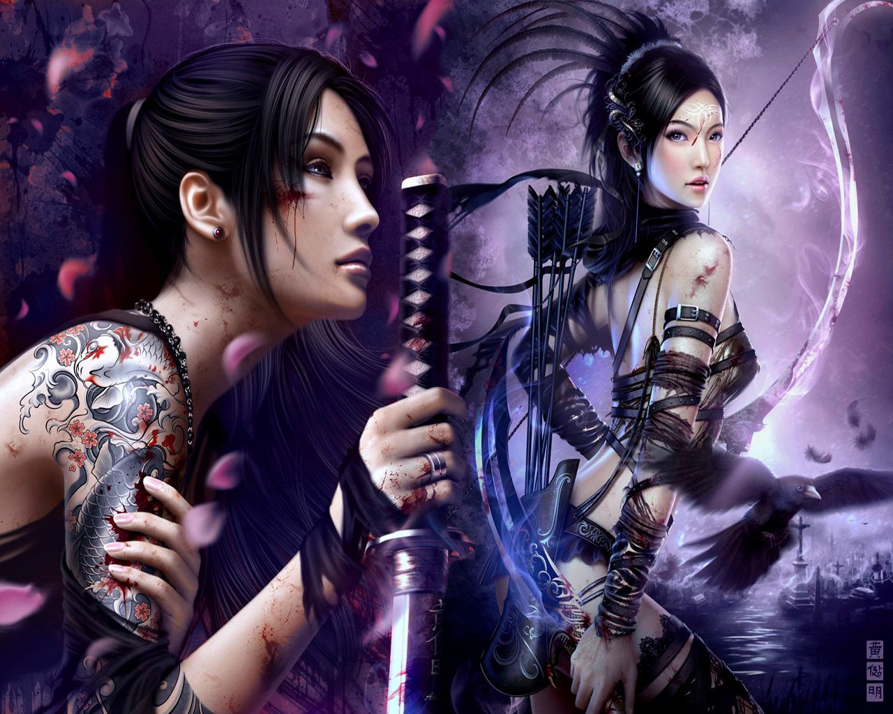 Anime Chinese Warrior  Anime Tattoo Girl Blossom China -6889