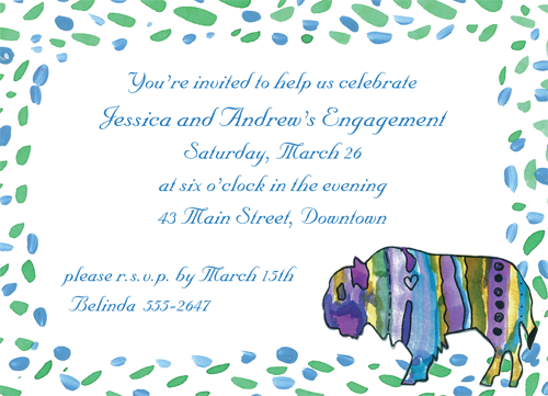 """Cancer Cures Collection  I Love Buffalo  Party Invitation  6 3/4"""" x 4 7/8""""  Full Color as shown  $26.00 for 16 Invitations. A portion of the proceeds from the sale of this invitation is donated to help support cancer patient care programs at The Roswell Park Cancer Institute."""