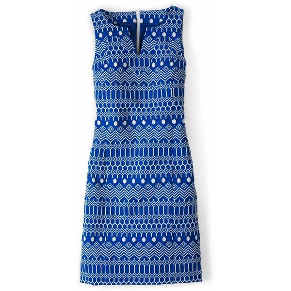 Boden Clara Dress ($114) ❤ liked on Polyvore featuring dresses, boden dresses, graphic print dress, blue jacquard dress, graphic dresses and structured dress