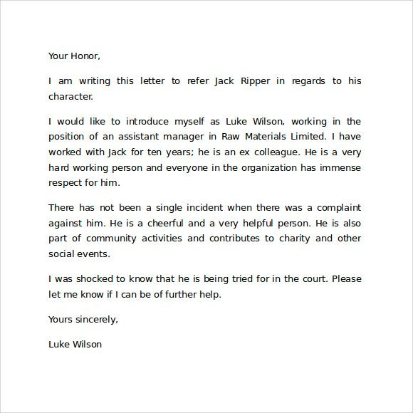 Character Reference Letter For Court Template  Logan