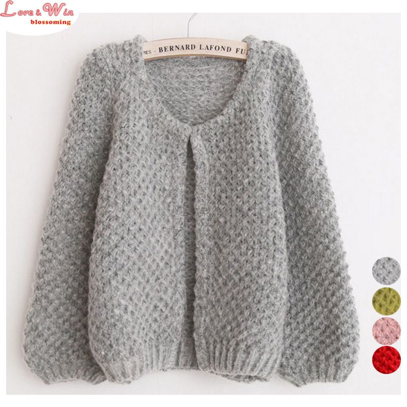 Cute Puff Sleeve Fluffy Soft Knitting Cardigans Sweaters Women ...