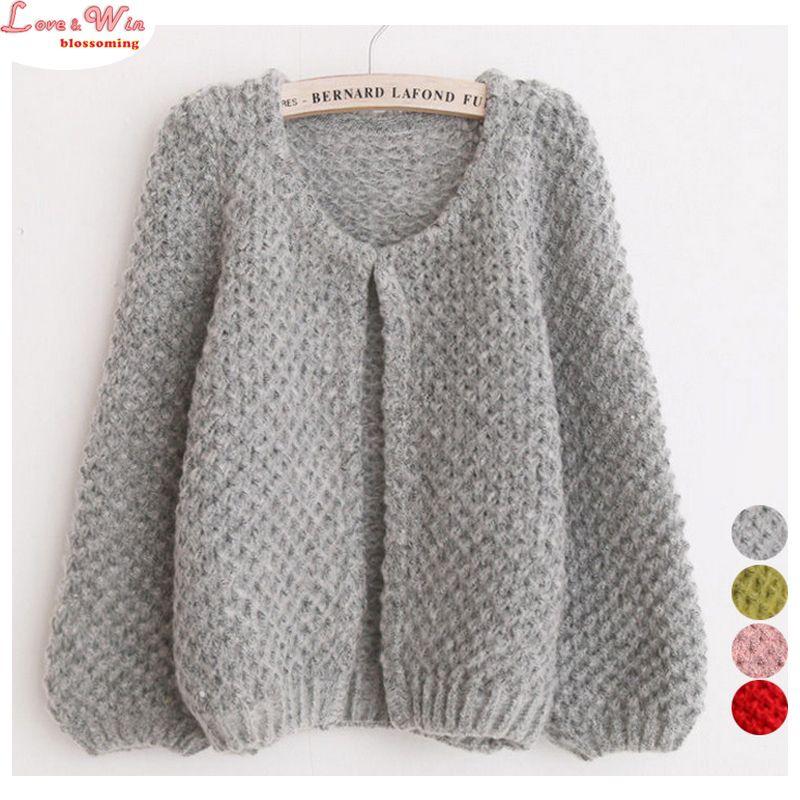 Cute Puff Sleeve Fluffy Soft Knitting Cardigans Sweaters Women ...